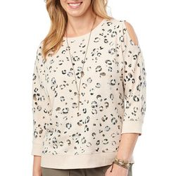 Democracy Womens Leopard Print Cold Shoulder Dolman Top