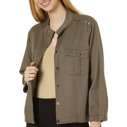 Democracy Womens Solid Grommet Patch Pocket Jacket