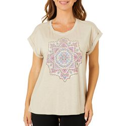 Democracy Womens Medallion Screen Print Short Sleeve Top