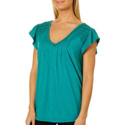 Democracy Womens Embroidered Pleated V-Neck Short Sleeve Top