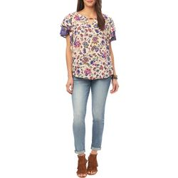 Democracy Womens Floral Print Flutter Sleeve Top