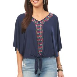 Democracy Womens Geometric Embroidered Tie Front Top