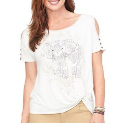 Democracy Womens Boho Elephant Cold Shoulder Top