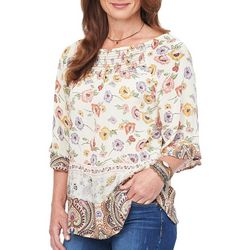 Democracy Womens Floral Paisley Smocked Neck Top