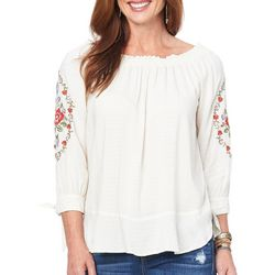 Democracy Womens Mixed Floral Tie Sleeve Top