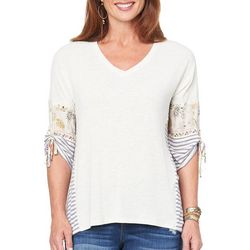 Democracy Womens Floral Striped Tie Sleeve Top