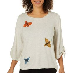 Democracy Womens Embroidered Bumblebee Tie Sleeve Sweater