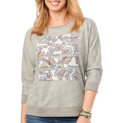Democracy Womens Paisley Print Panel Dolman Sweater
