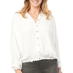Democracy Womens Subtle Stripe Button Down Long Sleeve Top