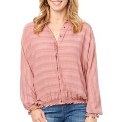 Democracy Womens Subtle Stripe Button Down Long Sleeve