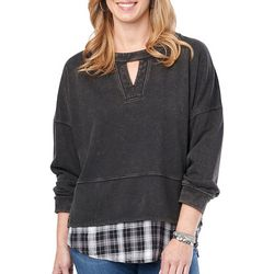 Democracy Womens Mixed Media Plaid Faux Duet Long Sleeve Top