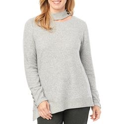 Democracy Womens Solid Asymmetrical Hem Long Sleeve Top