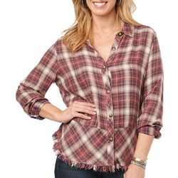 Democracy Womens Plaid Ruffle Button Down Long Sleeve Top