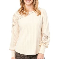 Democracy Womens Solid Lace Panel Long Sleeve Top