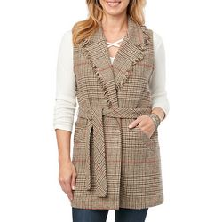 Democracy Womens Plaid Woven Belted Vest