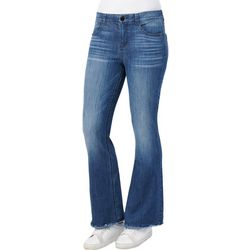 Democracy Womens Ab-solution Flared Leg Solid Denim Jeans