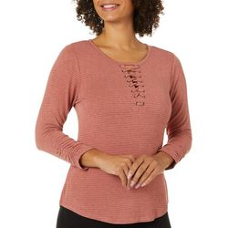 Democracy Womens Subtle Stripe Round Neckline Top