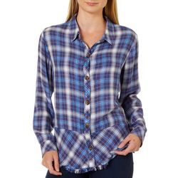 Democracy Womens Plaid Print Button Down Long Sleeve Top