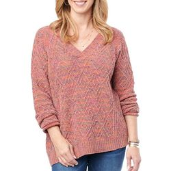 Democracy Womens Diamond Print Knit V-Neck Top