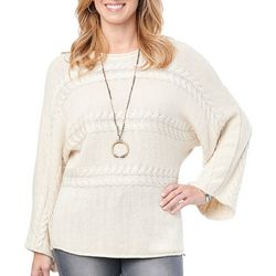 Democracy Womens Solid Cable Knit Dolman Sweater