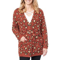 Democracy Womens Leopard Print Long Sleeve Cardigan