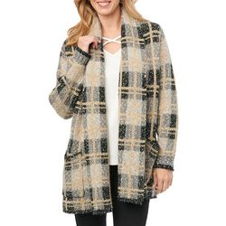 Democracy Womens Plaid Print Long Sleeve Cardigan