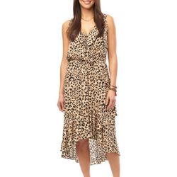 Democracy Womens Leopard Print Sleeveless Ruffle Dress