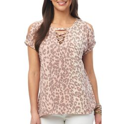 Democracy Womens Sketched Animal Print Lace-Up Neck Top