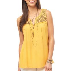 Democracy Womens Embroidered Floral Sleeveless Top
