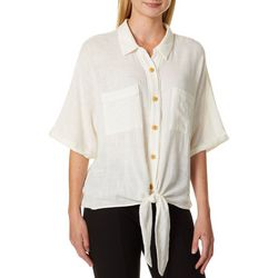 Democracy Womens Solid Woven Button Down Tie Front Top