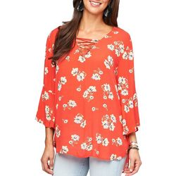 Democracy Womens Floral Print Lace-Up Top