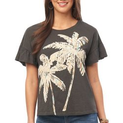 Democracy Womens Palm Tree Ruffle Sleeve Top