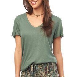 Democracy Womens Solid Shimmer Short Sleeve Top