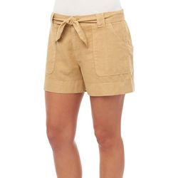 Democracy Womens Solid Linen Wrap Pocket Shorts