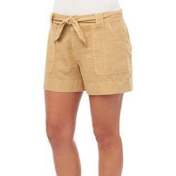 Democracy Womens Solid Linen Wrap Pocket Shorts