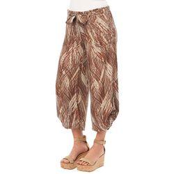Democracy Womens Palm Print Belted Wide Leg Capris