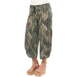 Democracy Womens Palm Print Belted Wide Leg Capris