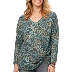 Democracy Womens Leopard Print Twist Front V-Neck Top