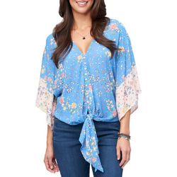 Democracy Womens Mixed Floral Bell Sleeve Tie Front Top