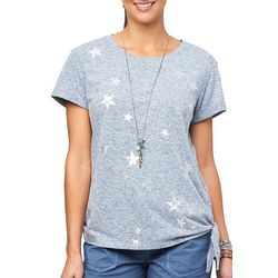 Democracy Womens Heathered Star Print Side Tie Top