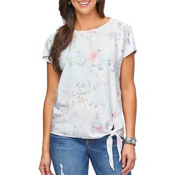 Democracy Womens Mixed Floral Side Tie Top