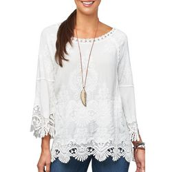Democracy Womens Embroidered Crochet Trim Top