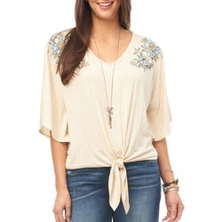 Democracy Womens Floral Embroidered Tie Front Top