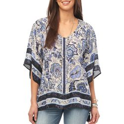 Democracy Womens Boho Floral Print Woven Top