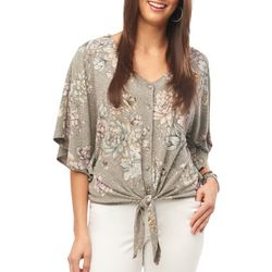 Democracy Womens Floral Print Button Down Tie Front Top