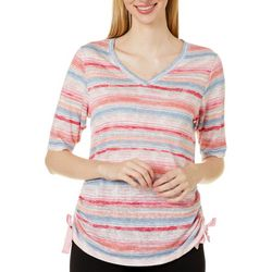 Democracy Womens Striped Ruched Side V-Neck Top