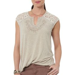 Democracy Womens Floral Lace Sleeve Top