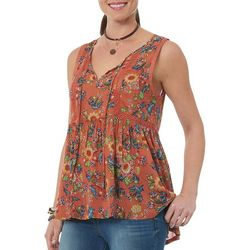 Democracy Womens Floral Tie Neck Sleeveless Top