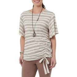 Democracy Womens Striped Ruched Side Tie Top
