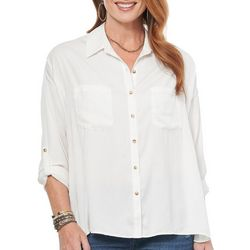 Democracy Womens Solid Button Down Top